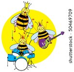 Color vector cartoon illustration of a funny bee band who playing music. - stock vector