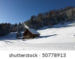 idyllic winter landscape - stock photo