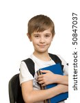 10 years old boy with a backpack isolated on white background - stock photo