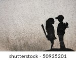 graffiti paint of love - stock photo