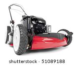 Red lawn mower on white background - stock photo