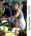 Women at Ann Arbor Farmers Market - stock photo