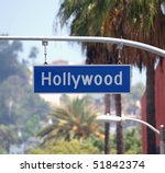 Hollywood Bl sign with palm trees in Los Angeles, California. - stock photo
