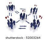 groups of people figures illustrating communication issues. - stock photo