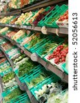 Fresh vegetables in supermarkets - stock photo