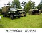 US Truck and jeep from the World War II era - stock photo