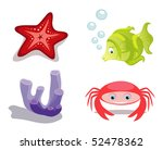 Sea animals fish, crab, starfish and sea sponge - stock vector