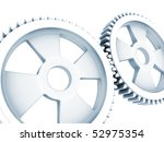 two inter meshing cogwheels, isolated on a white background - stock photo