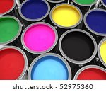 paint cans with red green blue cyan magenta yellow and black paints - stock photo