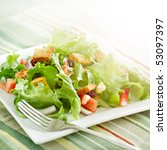 salad with beaming sunlight - stock photo
