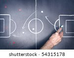close up shot of a soccer tactic board - stock photo