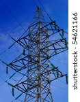 Electric Tower on Blue Sky background - stock photo