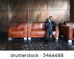 Business call in waitng-room - stock photo