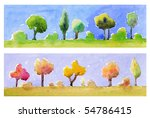 Naive style watercolored borders of trees in summer and autumn. - stock photo