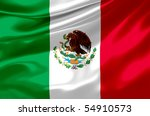 satin mexican flag - stock photo
