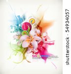 eps10 vector realistic Frangipani flower in multicolored ink splattered background - stock vector