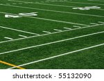 Forty Yard Line on American Football Field and Sideline - stock photo