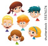 Set of different character expressions. Funny cartoon and vector illustration. Isolated objects. - stock vector