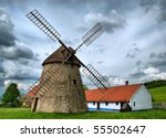 Vintage windmil in Kuzelov, southern Moravia, Czech Republic - stock photo