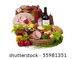 A composition of meat and vegetables with a bottle of wine isolated on white. File includes clipping path for easy background removing. - stock photo