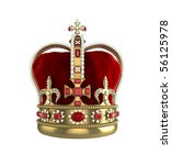 High quality 3d illustration front view of a king or queens crown - stock photo