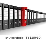 A row of files, with one red one standing out from the others - stock photo