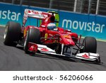 VALENCIA, SPAIN - JUNE 26: Formula 1 Valencia Street Circuit - Fernando Alonso - June 26, 2010 in Valencia, Spain - stock photo