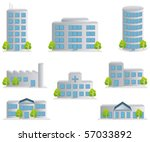 Building icons set. Architectures image - stock vector