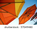 colorful beach umbrellas - stock photo