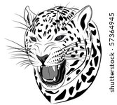 Leopard in the form of a tattoo - stock vector