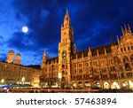 The night scene of town hall at the Marienplatz in Munich - stock photo