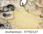 Old memories - Original accessories of 1920s on vintage background - stock photo
