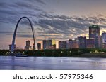 Cityscape of St. Louis Missouri at night - stock photo