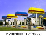 Bright colorful car wash with vacuum and shampoo machines - stock photo