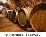 barrels in a wine cellar - stock photo