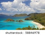 Paradise-like US Virgin Islands in the Caribbean. Turquoise ocean and lovely landscapes., - stock photo