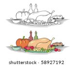 Thanksgiving meal in hand drawn, vintage woodcut style. Choice of line art or colored. - stock vector