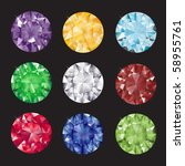 A set of brilliant cut gems on black background. EPS10 vector format. - stock vector