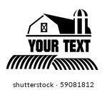 Vector illustration of Barn and farm icon - stock vector