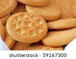 Close up of round biscuits in a bowl - stock photo
