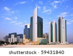 The towers in the West Bay commercial district of Doha, Qatar, - stock photo