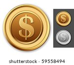 Dollar coin. - stock vector