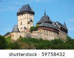 Karlstejn Castle in the Czech Republic - stock photo
