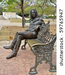 HAVANA, FEBRUARY 3:  Statue of John Lennon in John Lennon Park, February 3, 2010 in Havana Cuba.  It is a popular park, attracting many tourists every day, Lennon is revered in Cuba. - stock photo