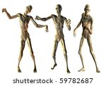 3D Rendering Dance of the undead zombies - stock photo