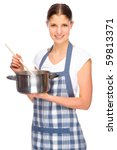 Full isolated studio picture from a young housewife in the kitchen - stock photo