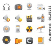 Multimedia Icons, Yellow08 Professional icons for your website, application, or presentation - stock vector