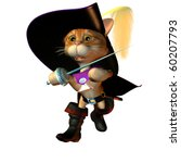 3d rendering from costume tomcat ready to fighting as Illustration - stock photo