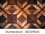 Detail of ornamental wooden pattern parquet floor - stock photo