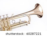 A professional gold trumpet isolated against a white background. - stock photo